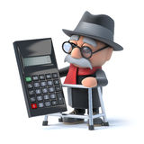 3d Grandpa using a calculator Stock Image