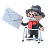 3d Grandpa with walking frame gets mail Stock Images