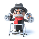 3d Grandpa with walking frame is lifting weights! Stock Images
