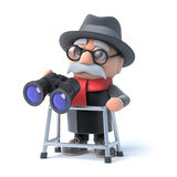 3d Grandpa with walking frame looks through binoculars Stock Photo