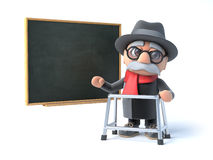 3d Grandpa with walking frame stands by the blackboard Royalty Free Stock Photo