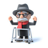 3d Grandpa with walking frame waves his arms in the air Royalty Free Stock Image