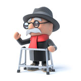 3d Grandpa waves from his walking frame Stock Images