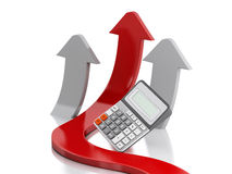 3d Graph arrow and calculator. Success in business. Royalty Free Stock Photography