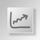 3D Graph Button Icon Concept Stock Image
