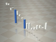 3D graph depicting the fluctuation of stock prices. 3D illustration Royalty Free Stock Photos