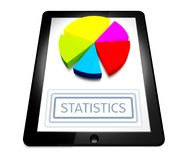 3d graph digital tablet with statistics button Stock Photos
