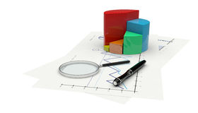 3d graph financial analysis. 3d render graph financial analysis with a pen and magnifying Stock Photos