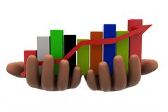 3d graph on hands Royalty Free Stock Images