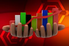 3d graph on hands illustration Royalty Free Stock Image