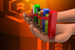 3d graph on hands illustration Royalty Free Stock Photography