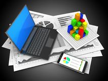 3d graph. 3d illustration of business charts and black laptop over black background with graph Stock Photos