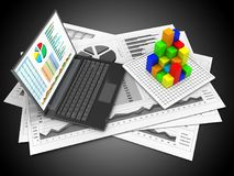 3d graph. 3d illustration of business charts and personal computer over black background with graph Royalty Free Stock Images