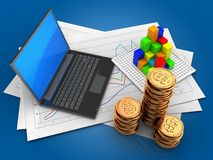 3d graph. 3d illustration of diagram papers and black laptop over blue background with graph Stock Photography