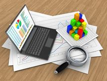 3d graph. 3d illustration of diagram papers and personal computer over wood background with graph Stock Photography