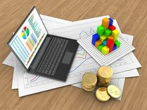 3d graph. 3d illustration of diagram papers and personal computer over wood background with graph Royalty Free Stock Image