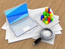 3d graph. 3d illustration of diagram papers and white laptop over wood background with graph Stock Photo