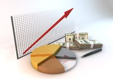 3d Graph Pie Business with Arrow up Diagram Of investment white Stock Photo