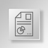 3D  Graph Report Button Icon Concept. 3D Symbol Gray Square Graph Report Button Icon Concept Stock Photography