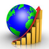 Graphic chart and earth. 3d graphic chart and the globe Royalty Free Stock Photography