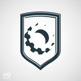 3d graphic gear symbol on shield, heraldic Stock Photos
