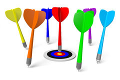 3D graphic, metaphors, target, darts, colorful... Royalty Free Stock Image