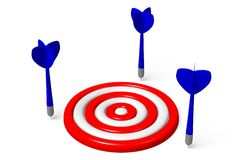 3D graphic, metaphors, target, darts... Dart arrows close to aim, global business Royalty Free Stock Images