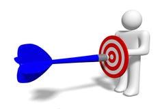 3D graphic, metaphors, target, darts, human character... Stock Photography
