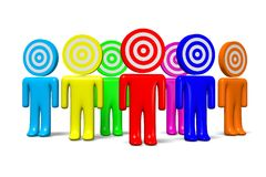 3D graphic, metaphors, target, darts, human characters... Colorful, dart-alike characters Stock Image