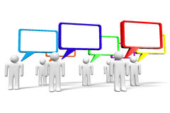 3D graphics, communication, speach bubbles, cartoon characters. 3d speech bubbles on white background Stock Photo