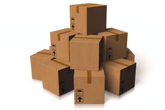 3D graphics, delivery package, boxes, transportation, on time, quick. 3D graphics for delivery - pile of boxes Stock Photography