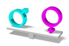 3D gender concept - EQUALITY... Royalty Free Stock Photo