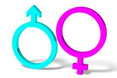 3D graphics, gender issues, male, female, pink, bl Stock Photos