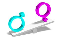 3D graphics, gender issues, male, female, pink, bl Stock Image