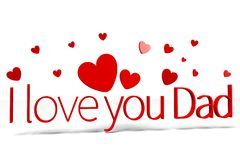 3D graphics, hearts, Dad's Day, I love you Dad... Stock Image