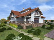 Small cozy house. 3-d graphics Royalty Free Stock Photo