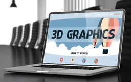 3D Graphics - on Laptop Screen. Closeup. 3D. 3D Graphics on Landing Page of Mobile Computer Screen in Modern Conference Hall Closeup View. Toned Image with royalty free stock photography
