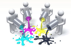 3D graphics, metaphores, printing, CMYK, paint cans, blots, human characters Stock Photos