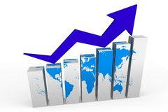 3D graphics, metaphors, Earth, global business, gr. 3D chart - growths metaphor Stock Photos