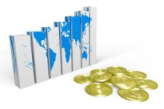 3D graphics, metaphors, Earth, global business, gr. 3D chart - growths metaphor Royalty Free Stock Image