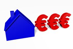 3D graphics, metaphors, housing issues, mortgage, euro sign... Stock Image