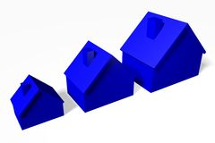 3D graphics, metaphors, housing issues, mortgage, houses... Royalty Free Stock Images