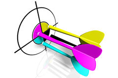 3D graphics, metaphors, printing, CMYK, arrows, darts. 3D darts in four printing CMYK colors Stock Image