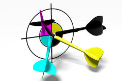 3D graphics, metaphors, printing, CMYK, arrows, darts. 3D darts in four printing CMYK colors Royalty Free Stock Photo