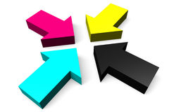 3D graphics, metaphors, printing, CMYK, arrows. Four CMYK arrows on white background Royalty Free Stock Image