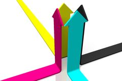 3D graphics, metaphors, printing, CMYK, arrows. Four CMYK arrows on white background Royalty Free Stock Images