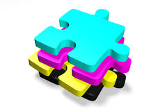3D graphics, metaphors, printing, CMYK, jigsaw puzzles. CMYK jigsaw puzzles in four colors Stock Image