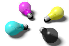 3D graphics, metaphors, printing, CMYK, light bulbs, idea. CMYK light bulbs, idea Stock Photos