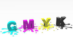 3D graphics, metaphors, printing, CMYK, paint blots and letters Stock Photos