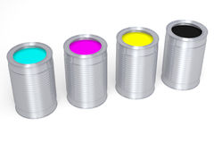 3D graphics, metaphors, printing, CMYK, paint cans. CMYK paint cans on a white background Stock Images